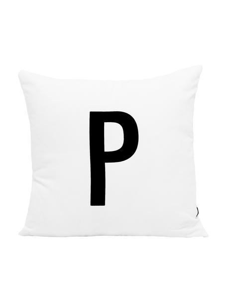 Kissenhülle Alphabet (Varianten von A bis Z), 100% Polyester, Schwarz, Weiß, Variante P