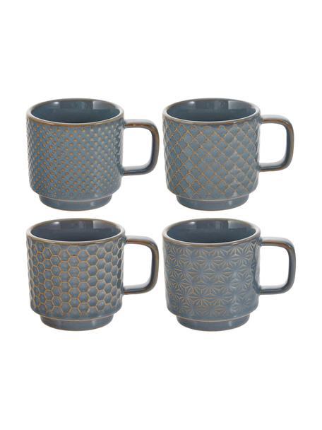 Espresso kopjes met patroon Lara, 4-delig, Keramiek, Blauwgrijs, bruin, Ø 6 x H 6 cm