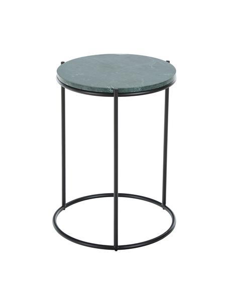Mesa auxiliar redonda de mármol Ella, Tablero: mármol natural, Estructura: metal con pintura en polv, Verde veteado, negro, Ø 40 x Al 50 cm
