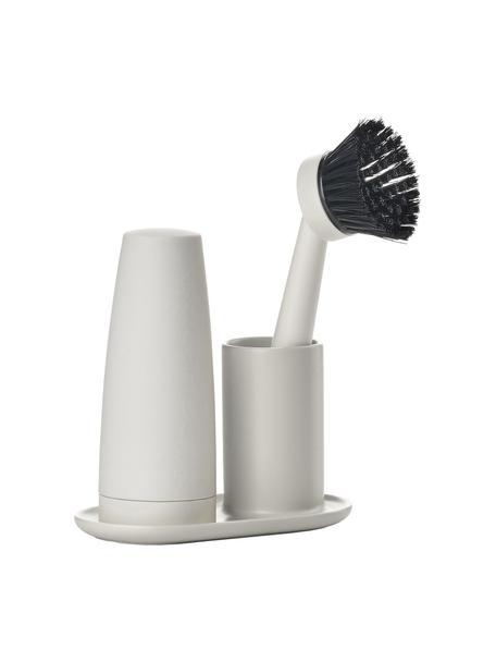 Wasmiddeldispenserset Plain met borstel, 3-delig, Keramiek, siliconen, kunststof (ABS), Lichtgrijs, 15 x 22 cm