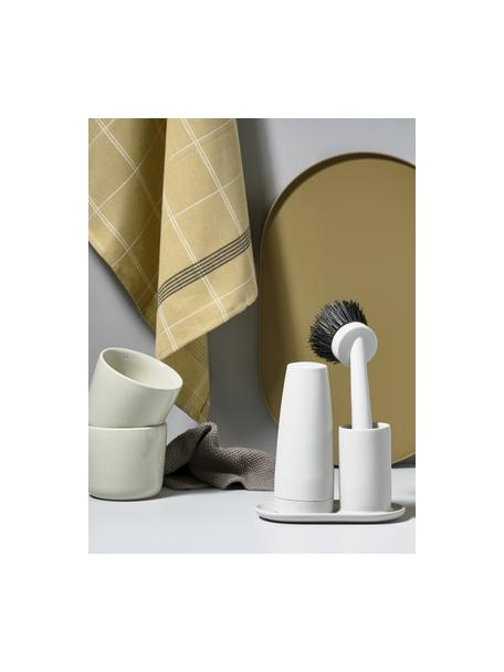 Komplet z dozownikiem do płynu naczyń i szczotki Singles, 3 elem., Ceramika, silikon, tworzywo sztuczne (ABS), Jasny szary, S 15 x W 22 cm