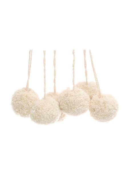 Pompones Lurex, 6uds., Algodón con hilo de lurex, Blanco, dorado, Ø 4 x Al 13 cm