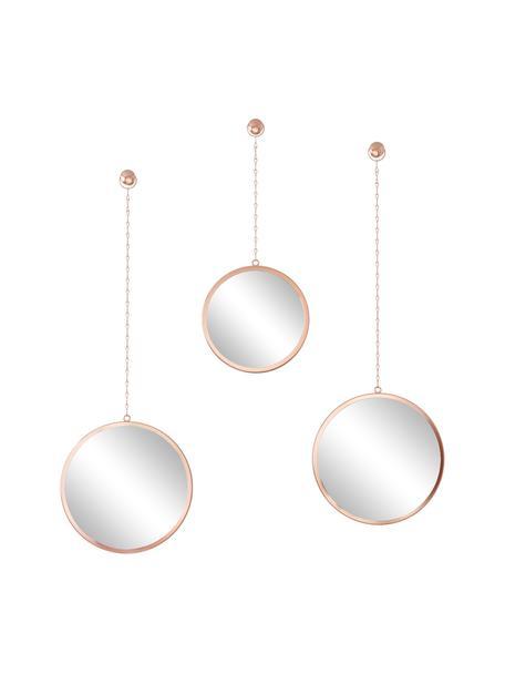 Set 3 specchi da parete con cornice in metallo color rame Dima, Cornice: metallo rivestito, Superficie dello specchio: lastra di vetro, Ramato, Set in varie misure