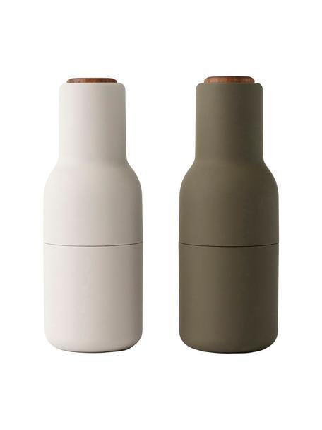 Molinillos de diseño Bottle Grinder, 2pzas., Estructura: plástico, Grinder: cerámica, Verde oscuro, beige, Ø 8 x Al 21 cm