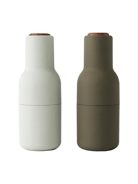 Set 2 macina spezie con tappo in legno di noce Bottle Grinder, Coperchio: legno di noce, Verde scuro, beige, Ø 8 x Alt. 21 cm