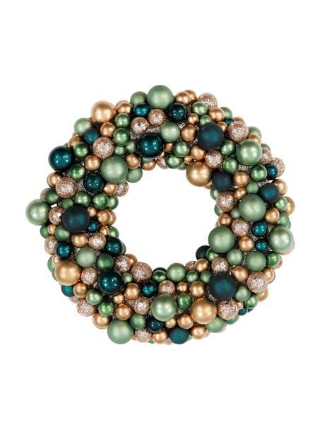 Corona navideña Festivity, Plástico, espuma de poliestireno, Verde, dorado, Ø 25 x Al 6 cm