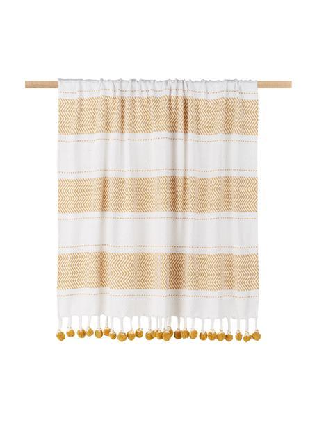 Baumwolldecke Pom Pom mit Streifendesign in Weiß/Gelb, 100% Baumwolle, Gebrochenes Weiß, Honiggelb, 130 x 170 cm