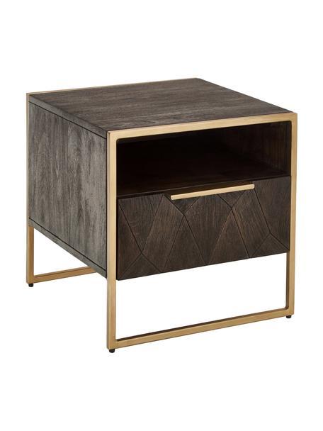 Nachttisch Harry aus massiven Mangoholz, Korpus: Massives Mangoholz, lacki, Mangoholz, Goldfarben, 45 x 45 cm