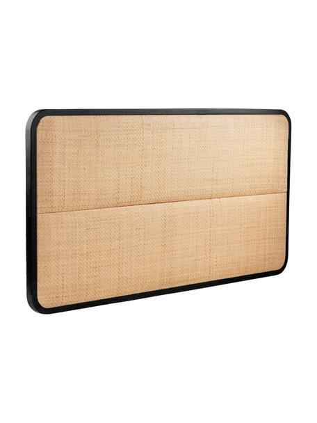 Zagłówek z rattanu Byrum, Drewno dębowe, drewno brzozowe, rattan, drewno warstwowe, Czarny, jasny brązowy, S 165 x W 85 cm