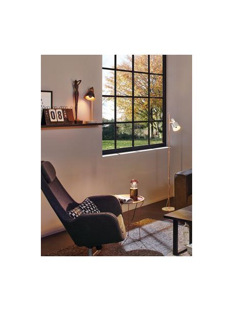 Grote tafellamp Orm met betonnen voet, Lampenkap: gecoat metaal, Stang: gecoat metaal, Lampvoet: beton, Koperkleurig, grijs, Ø 15 x H 50 cm