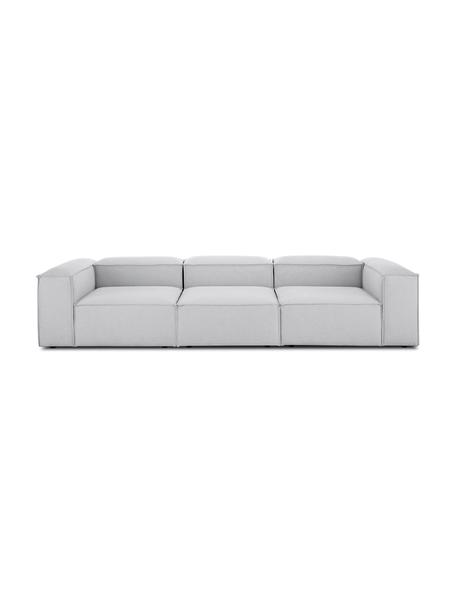 Modulares Sofa Lennon (4-Sitzer) in Hellgrau, Bezug: Polyester Der hochwertige, Gestell: Massives Kiefernholz, Spe, Webstoff Hellgrau, B 326 x T 119 cm