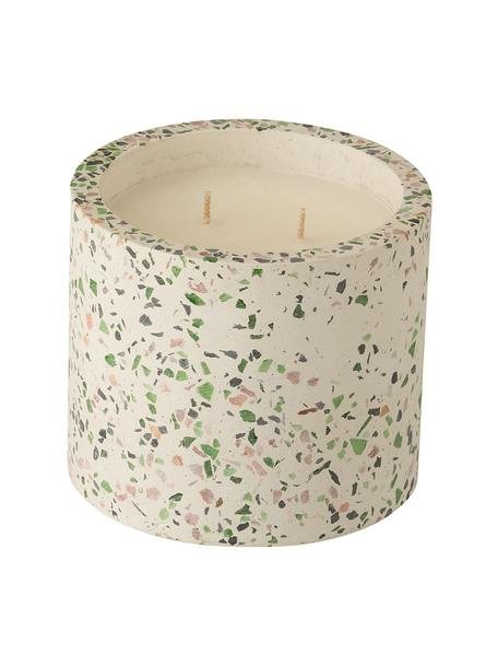 Zweidocht-Duftkerze Terrazzo, Behälter: Steingut, Cremefarben, Rosa, Grün, Ø 12 x H 11 cm