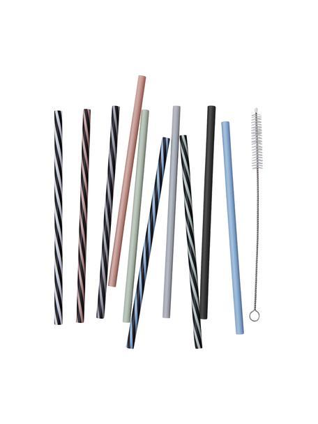 Strohhalme Multi mit Bürste, 11er-Set, Strohhalm: Polypropylen, BPA-frei, Mehrfarbig, L 19 cm