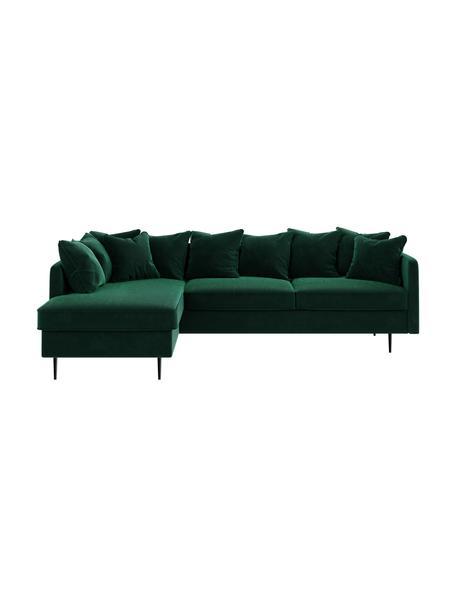 Sofa narożna z aksamitu Esme, Tapicerka: 100% aksamit poliestrowy, Stelaż: drewno liściaste, drewno , Nogi: metal powlekany Dzięki tk, Ciemny zielony, S 255 x G 165 cm