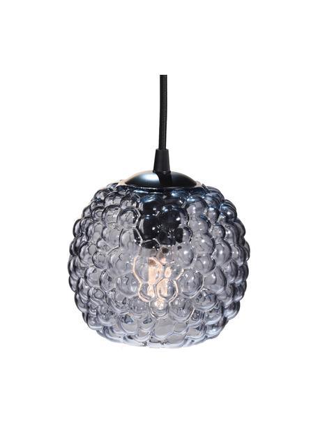 Hanglamp Grape, Lampenkap: mondgeblazen glas, Baldakijn: kunststof, Grijs, transparant, zwart, Ø 15 x H 13 cm