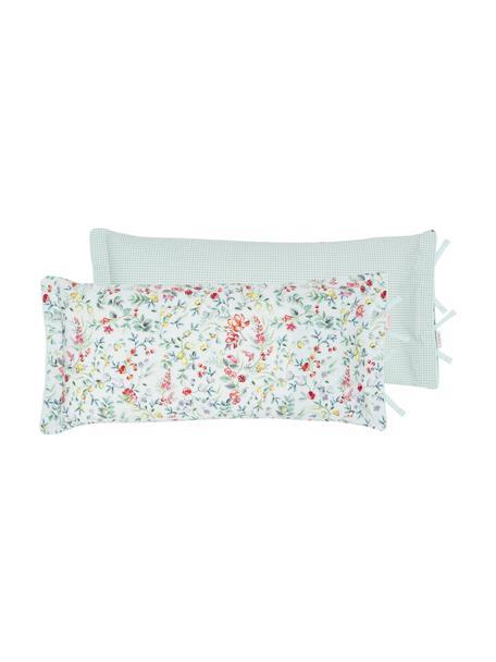 Baumwollperkal-Kissenbezug Midnight Garden mit dekorativen Schleifen, floral/gemustert, Webart: Perkal Fadendichte 200 TC, Weiß, Mintgrün, Mehrfarbig, 40 x 80 cm
