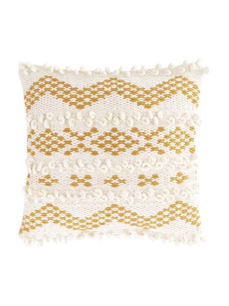 Boho Kissenhülle Paco mit dekorativer Verzierung, 80% Baumwolle, 20% Wolle, Ecru, Gelb, 45 x 45 cm