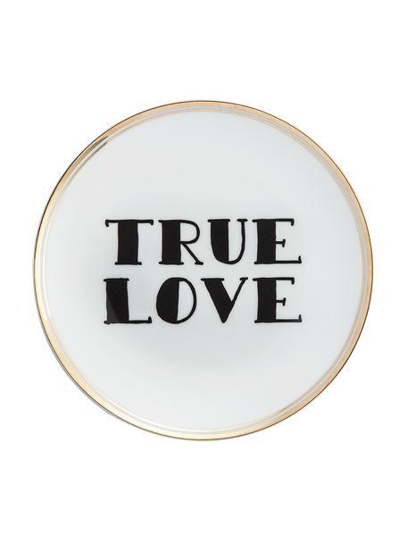 Porzellan-Frühstücksteller True Love mit Aufschrift und Goldrand, Porzellan, Weiss, Schwarz, Goldfarben, Ø 17 cm