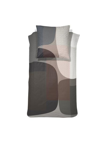 Gemusterte Baumwollsatin-Bettwäsche Moore, Webart: Satin Fadendichte 200 TC,, Grau, Braun, 135 x 200 cm + 1 Kissen 80 x 80 cm