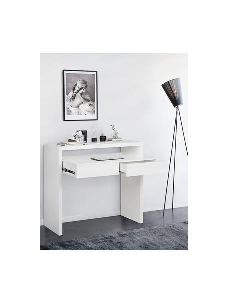 Schmaler Schreibtisch Teresa mit ausziehbarer Tischplatte, Spanplatte mit Melaminbeschichtung (MFC), Mitteldichte Holzfaserplatte (MDF), Weiß, B 100 x T 36 cm