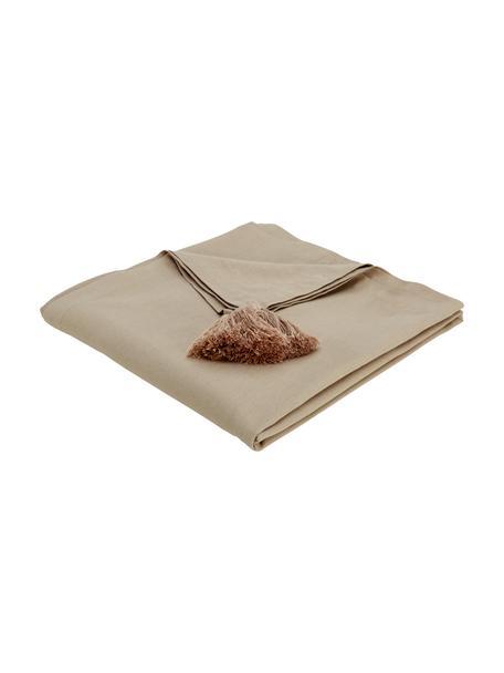 Tischdecke Benini mit Quasten, 85% Baumwolle, 15% Leinen, Greige, Für 6 - 10 Personen (B 130 x L 270 cm)