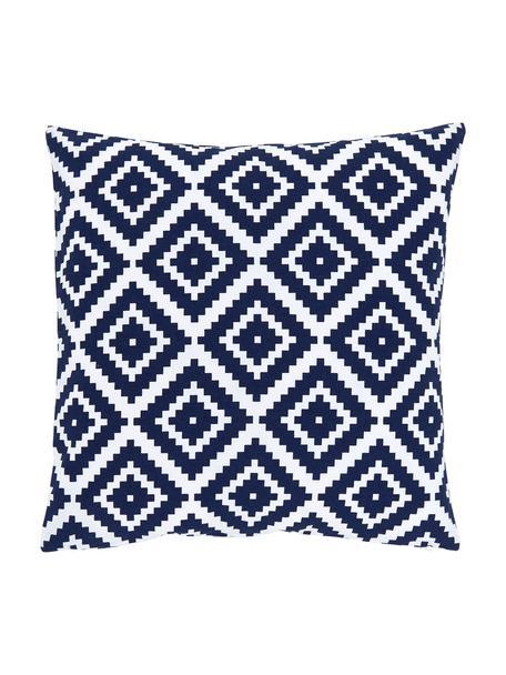Kussenhoes Miami met grafisch patroon, 100% katoen, Blauw, 45 x 45 cm