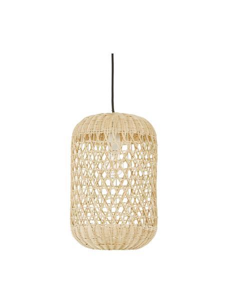 Kleine hanglamp Aurora van bamboehout, Lampenkap: bamboehout, Baldakijn: kunststof, Lichtbruin, Ø 25 x H 40 cm