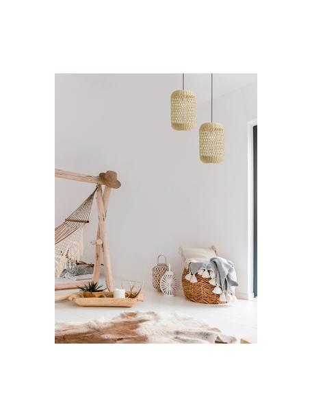 Lámpara de techo pequeña de vidrio Aurora, Pantalla: bambú, Anclaje: plástico, Cable: cubierto en tela, Bayo, Ø 25 x Al 40 cm