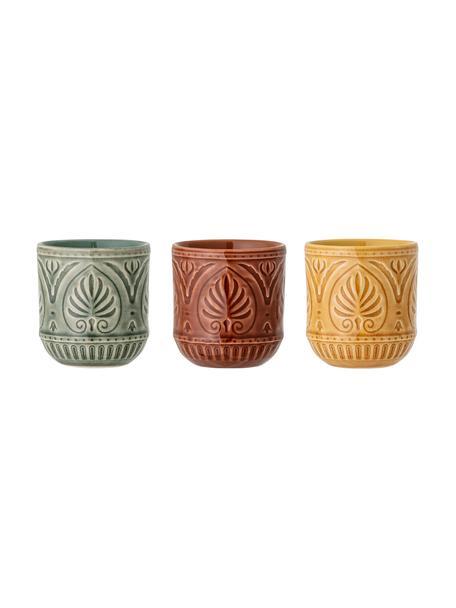 Ręcznie wykonany komplet kubków Rani, 3 elem., Kamionka, Zielony, żółty, czerwony, Ø 8 x W 9 cm