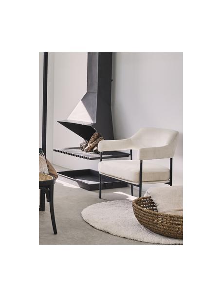 Fluwelen lounge fauteuil Zoe in wit, Bekleding: fluweel (polyester), Frame: gepoedercoat metaal, Teddy crèmewit, B 67  x D 66 cm