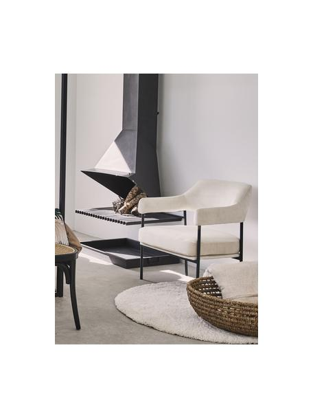 Sedia a poltrona in velluto bianco Zoe, Rivestimento: velluto (poliestere) Il r, Struttura: metallo verniciato a polv, Teddy bianco crema, Larg. 67 x Prof. 66 cm