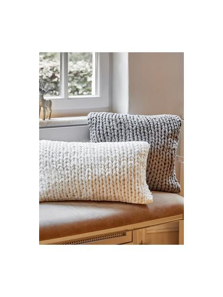 Ręcznie wykonana poszewka na poduszkę z grubej dzianiny Adyna, 100% poliakryl, Jasny szary, S 45 x D 45 cm