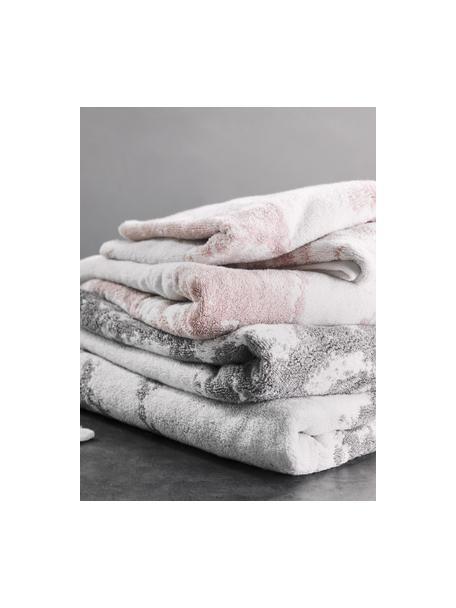 Asciugamano con motivo effetto marmo Malin, Grigio, bianco crema, Asciugamano per ospiti