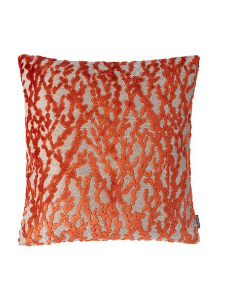 Federa arredo con motivo strutturato arancione Elio, 52% viscosa, 41% poliestere, 7% cotone, Arancione, beige, Larg. 40 x Lung. 40 cm