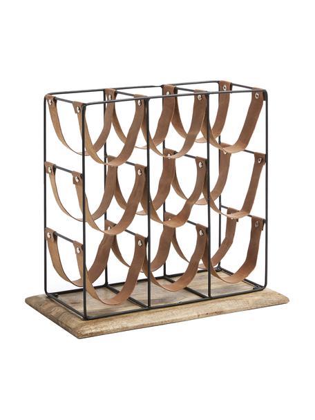 Weinregal Mucia für 9 Flaschen mit Mangoholz und Lederriemen, Gestell: Stahl, beschichtet, Sockel: Mangoholz, Braun, Schwarz, 39 x 36 cm