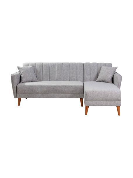 Sofa narożna z funkcją spania Aqua (3-osobowa), Tapicerka: len, Stelaż: drewno rogowe, metal, Nogi: drewno naturalne, Szary, S 225 x G 145 cm