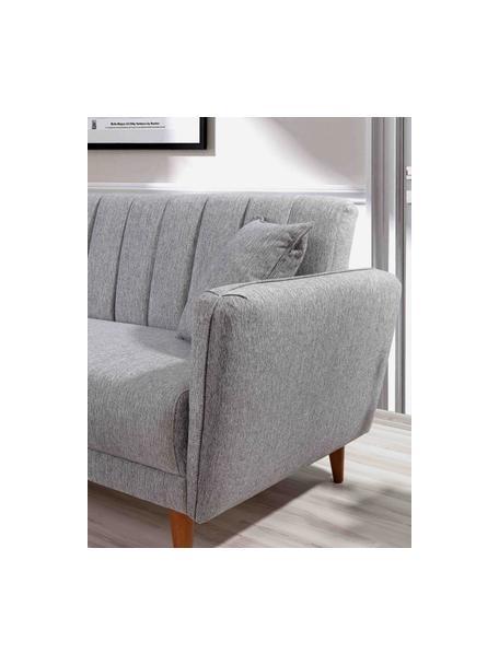 Sofa narożna z lnu z funkcją spania Aqua (3-osobowa), Tapicerka: len, Stelaż: drewno rogowe, metal, Nogi: drewno naturalne, Szary, S 225 x G 145 cm
