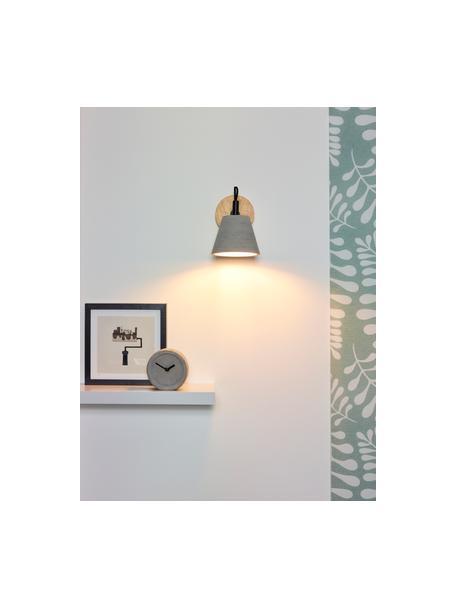 Wandleuchte Possio aus Beton und Holz, Lampenschirm: Beton, Grau, Schwarz, Braun, 15 x 18 cm