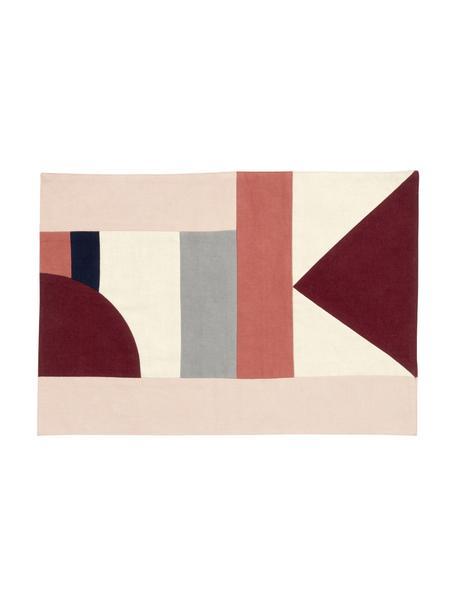 Podkładka z bawełny Patchwork, 2 szt., Bawełna, Odcienie czerwonego, odcienie beżowego, czarny, S 33 x D 48 cm