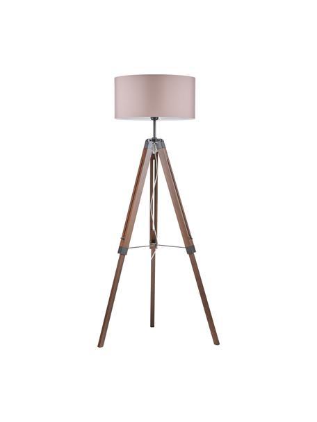 Lámpara de pie trípode de nogal Josey, Pantalla: tela, Estructura: acero con pintura en polv, Cable: plástico, Nogal, negro, gris pardo, Ø 70 x Al 150 cm