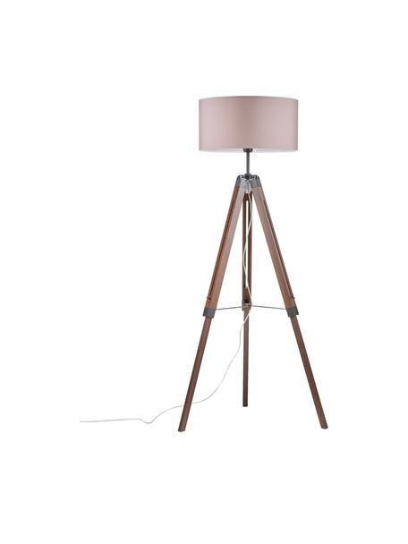 Tripod vloerlamp Josey van walnoothout, Lampenkap: textiel, Lampvoet: donker walnoothout, Lampvoet: walnoothoutkleurig, zwart. Lampenkap: taupe, Ø 70 x H 150 cm