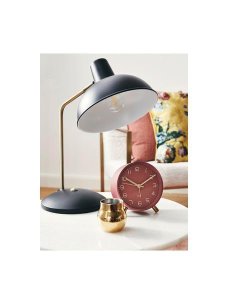 Lampa biurkowa Hood, Lampa: czarny, odcienie mosiądzu Klosz wewnątrz: biały, S 20 x W 38 cm