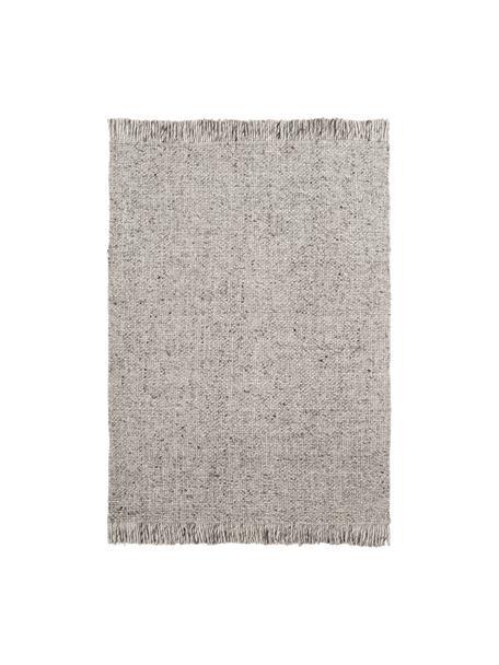 Handgeweven wollen vloerkleed Alvin in gevlekt lichtgrijs met franjes, Bovenzijde: 60% wol, 40% viscose, Onderzijde: 100% katoen Bij wollen vl, Grijs, gevlekt, B 80 x L 150 cm (maat XS)