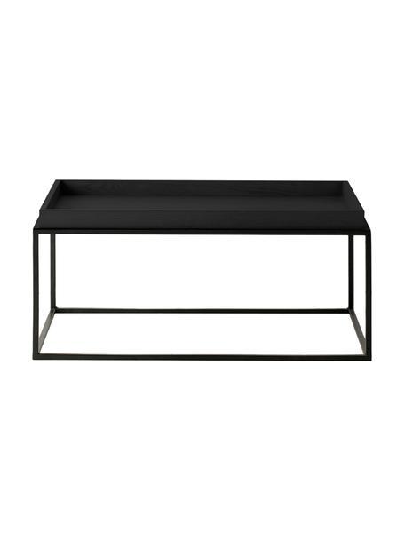 Salontafel Forden van hout en metaal in zwart, Tafelblad: gefineerd en gelakt MDF, Frame: gelakt metaal, Zwart, 90 x 40 cm