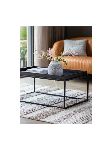 Tavolino da salotto Forden, Piano del tavolo: pannello di fibra a media, Struttura: metallo laccato, Nero, Larg. 90 x Alt. 40 cm