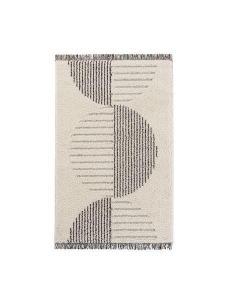 Hoogpolig vloerkleed Handira in crèmekleur/zwart met abstract patroon en franjes, 93% polypropyleen, 7% polyester, Beige, zwart, B 80 x L 150 cm (maat XS)