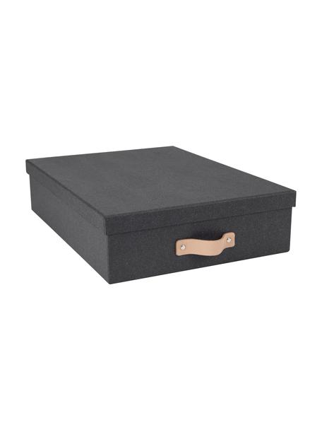 Aufbewahrungsbox Oskar II, Organizer: Fester Karton, mit Holzde, Griff: Leder, Organizer außen: SchwarzOrganizer innen: SchwarzGriff: Beige, 26 x 9 cm