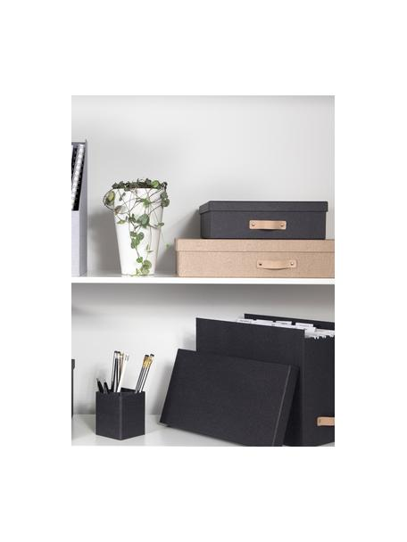 Opbergdoos Oskar II, Organizer: massief karton, met houtd, Organizer buitenzijde: zwart Organizer binnenzijde: zwart Handvat: beige, 26 x 9 cm