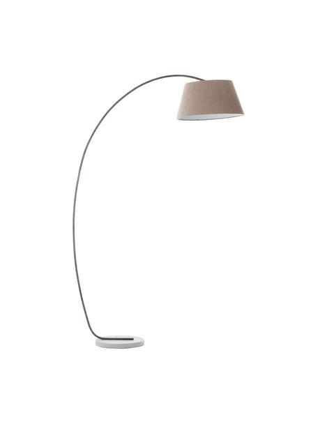 Design booglamp Brok met antieke afwerking, Lampenkap: flanel, Lampvoet: metaal, Voetstuk: beton, Grijs, 50 x 196 cm