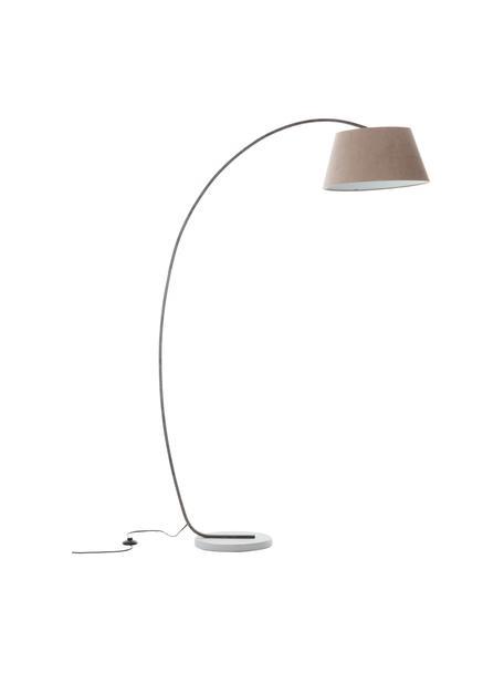 Grote booglamp Brok met antieke afwerking, Lampenkap: flanel, Lampvoet: metaal, Voetstuk: beton, Grijs, 121 x 196 cm